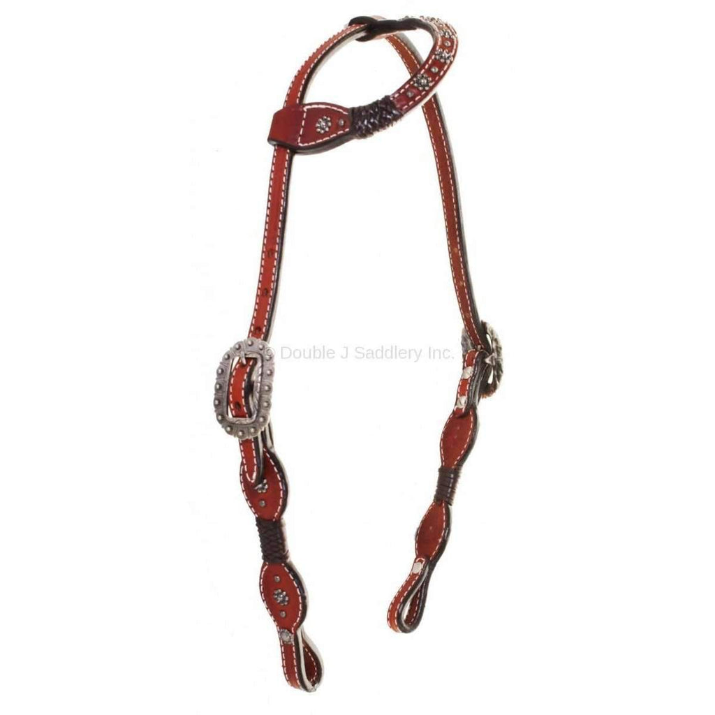 Chestnut Leather Single Ear Headstall with Brown Braids and Ric Rac Tooling