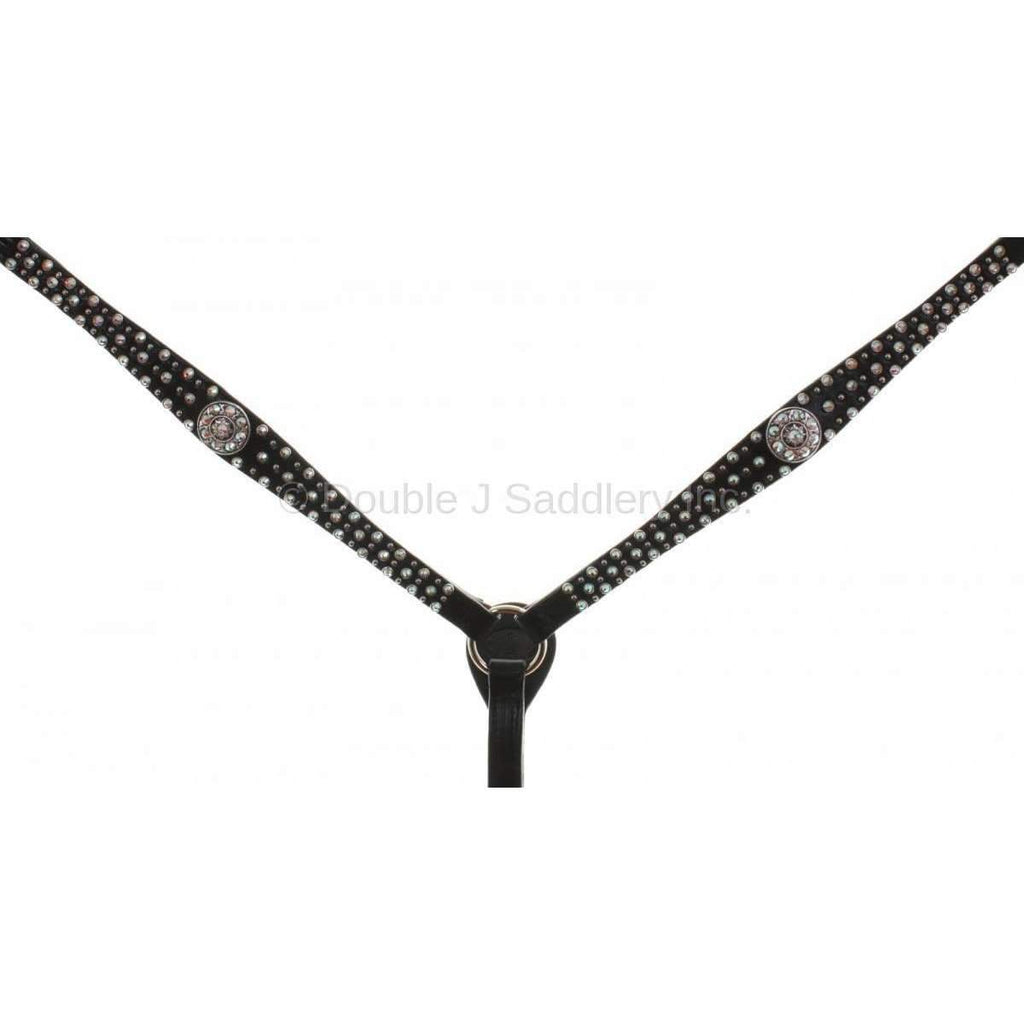 Black Leather Crystal Breast Collar