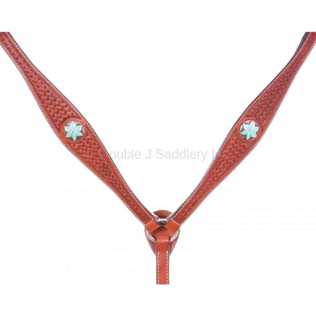 Cognac Leather Breast Collar with Star Tooling