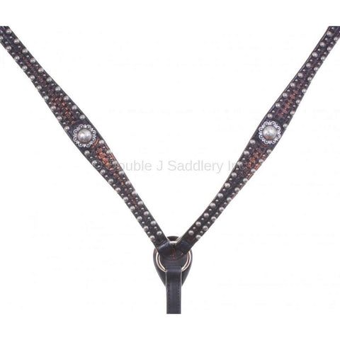 Black Vintage Breast Collar with Star Tooling