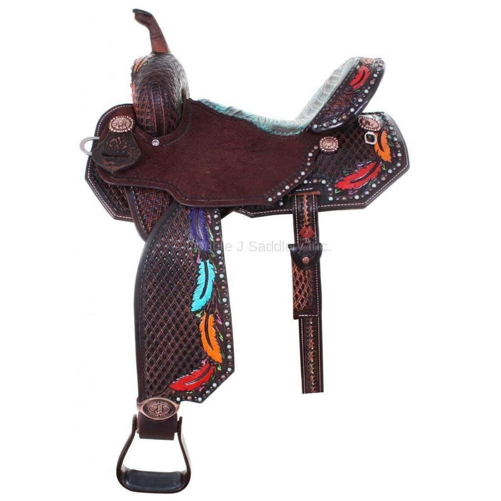 Tooled And Painted Pozzi Pro Barrel Racer Saddle. MATCHING TACK AVAILABLE...H732, H792, BC710, BC772