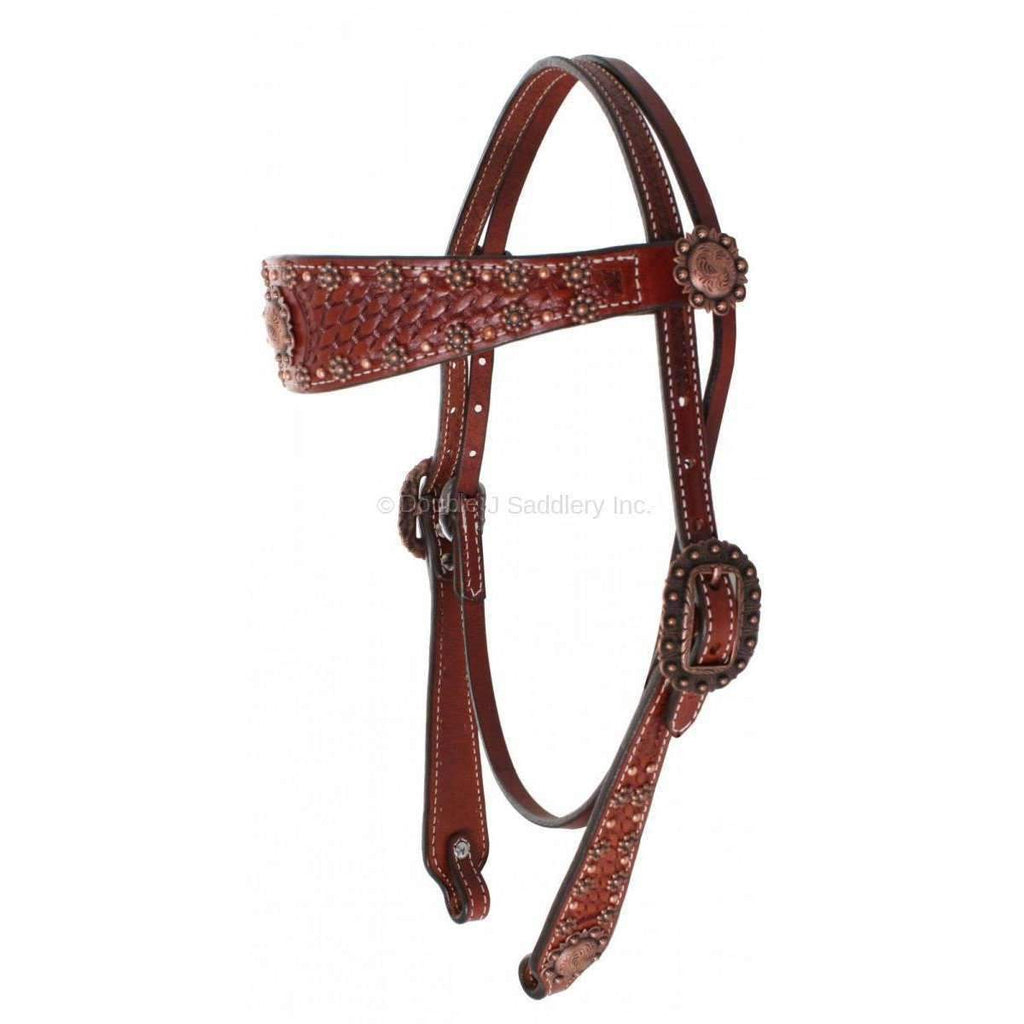 Chestnut Basketweave Tooled Headstall