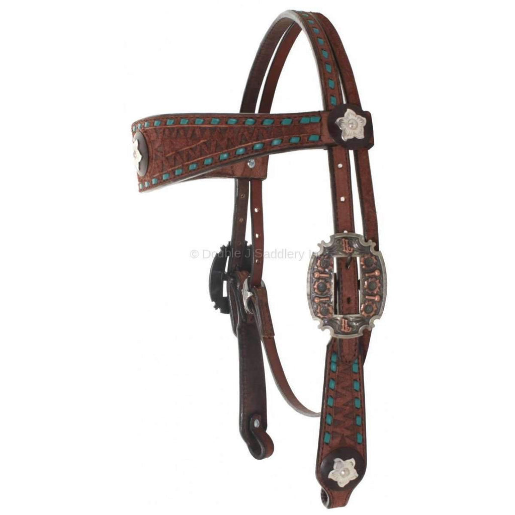 Brown Rough Out Tooled Headstall