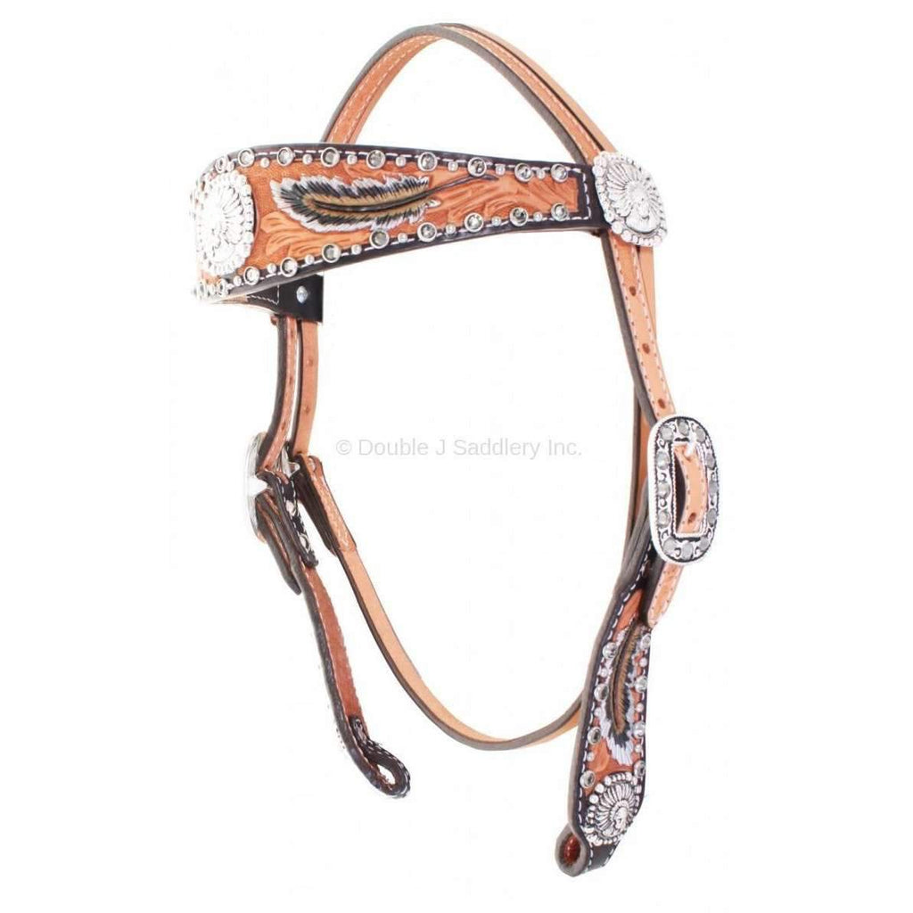 Natural Leather Feather Tooled Headstall