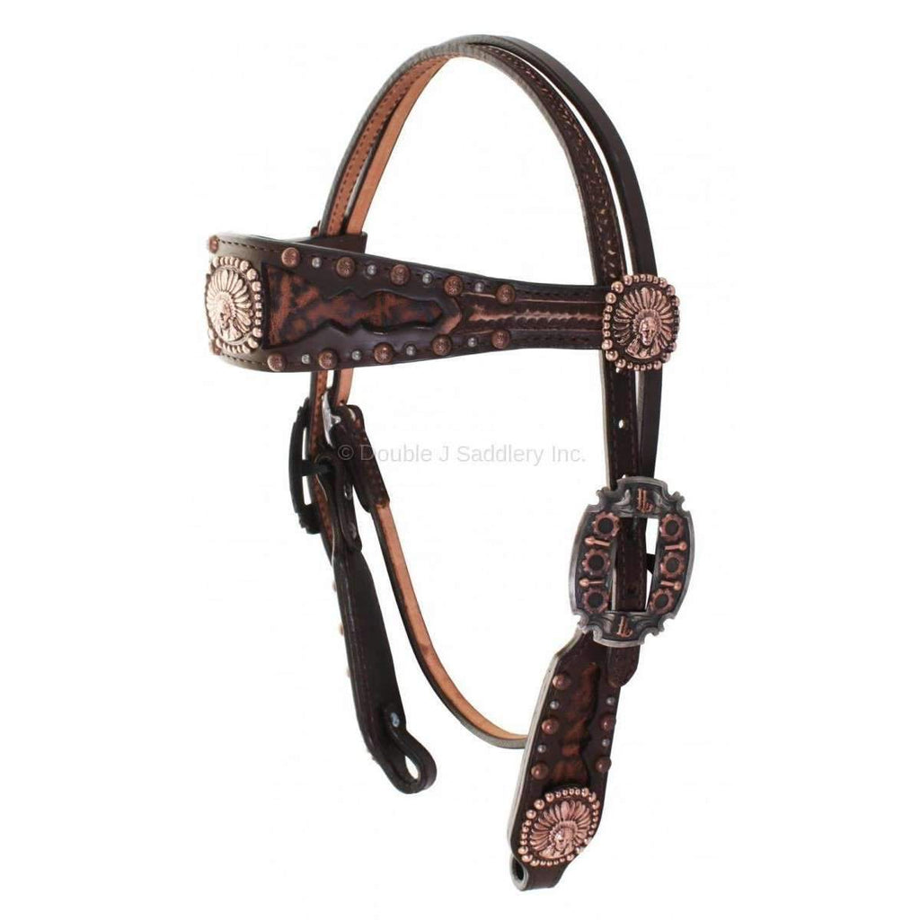 Brown Vintage Rum Brown Vintage Elephant Inlayed Headstall