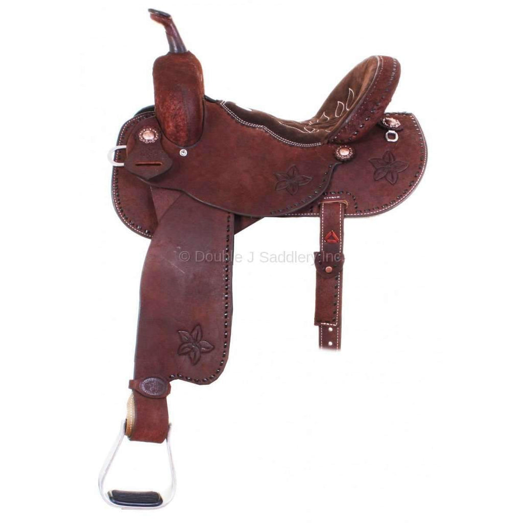 All Roughout Brittany Pozzi Barrel Racer Saddle with Chocolate Brown Suede Seat