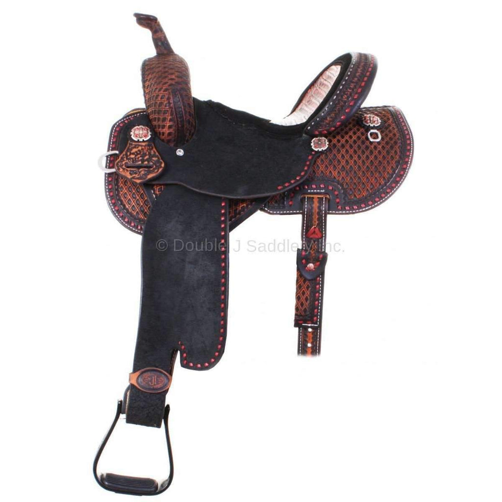 Black Vintage Brittany Pozzi Barrel Racer Saddle with Southwest Diamond Tooling. MATCHING TACK H715 AND BC694 AVAILABLE