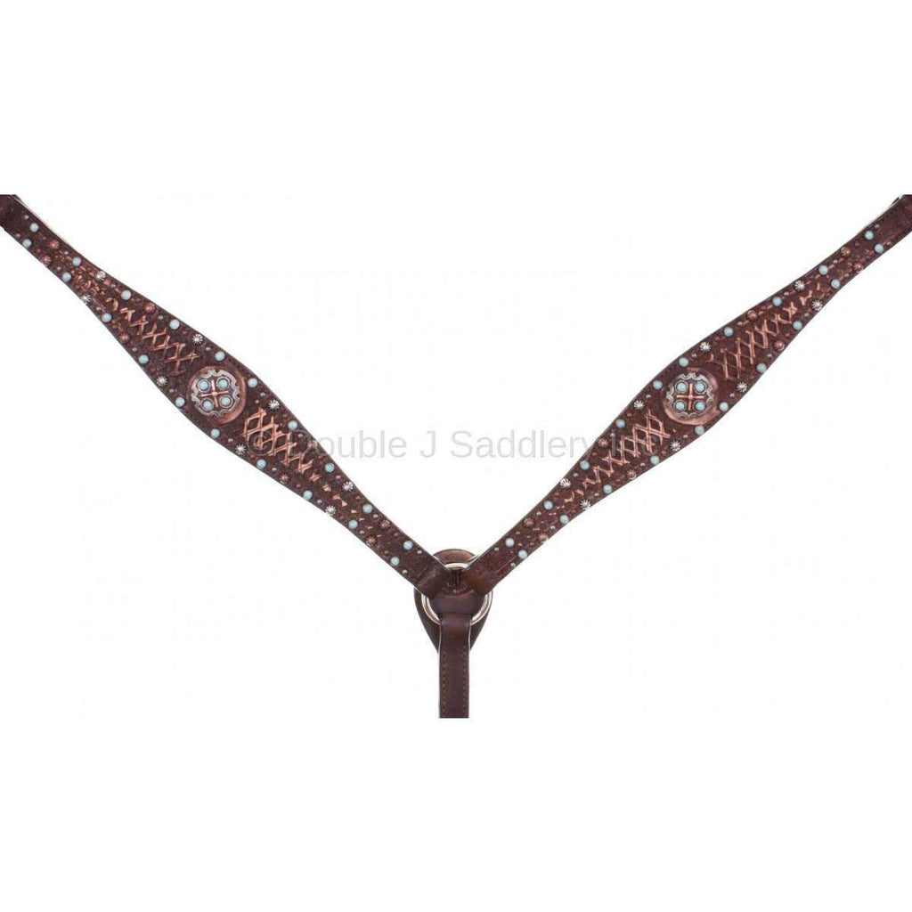 Brown Vintage Tooled And Studded Breast Collar