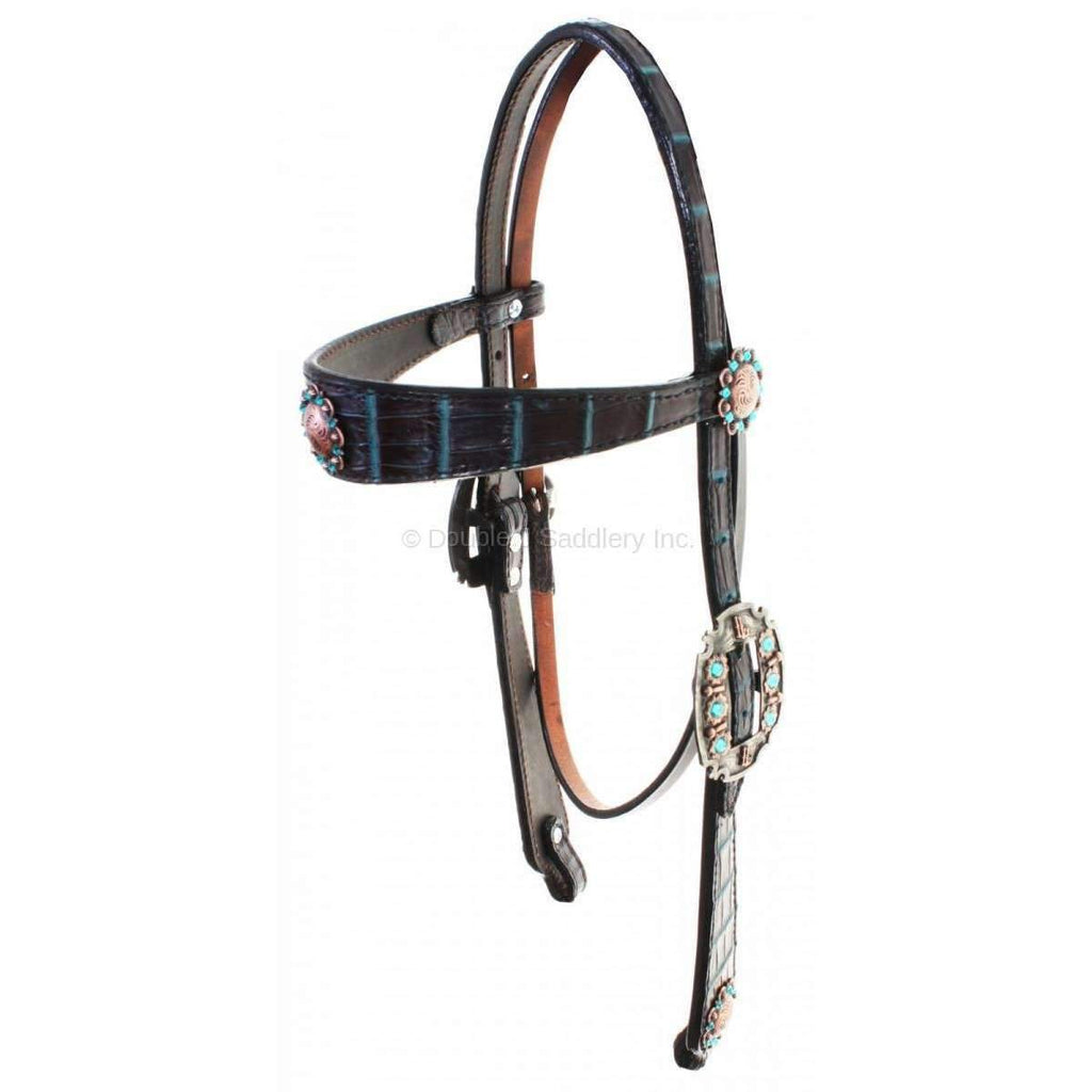 Black Vintage Headstall with Chocolate and Turquoise Nile Croco Overlay