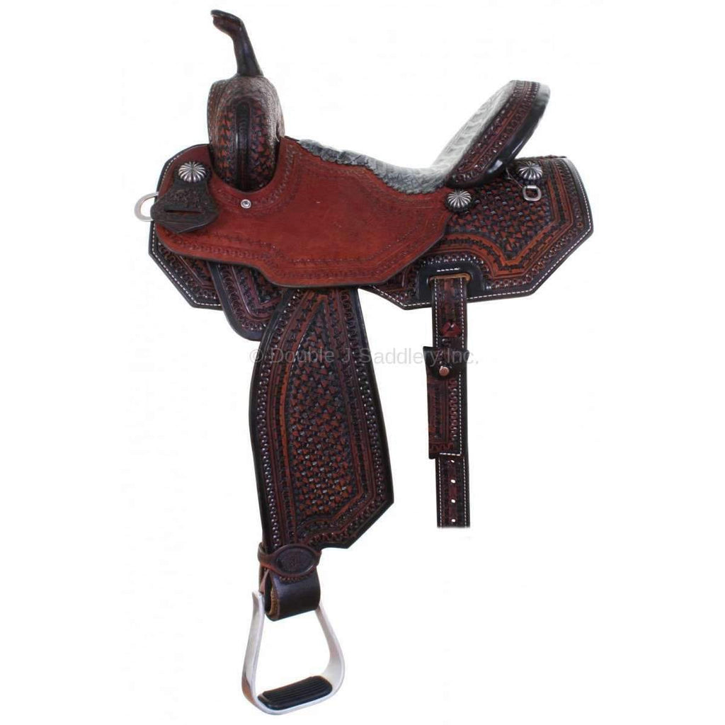 Tooled Black Vintage Pozzi Pro Barrel Racer. MATCHING TACK H729 AND BC708 AVAILABLE