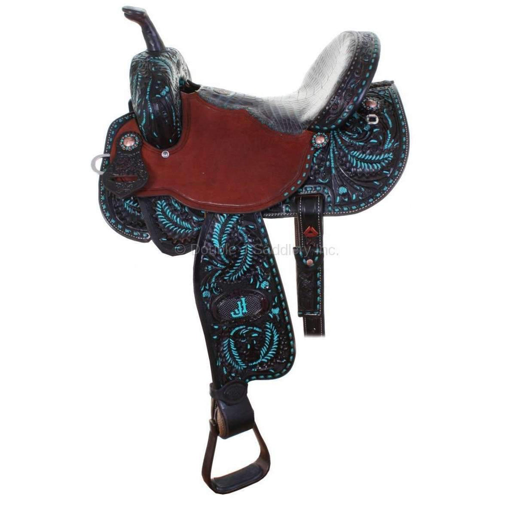 Black Vintage Tooled And Painted Pozzi Pro Barrel Racer. MATCHING TACK H735 AND BC712 AVAILABLE