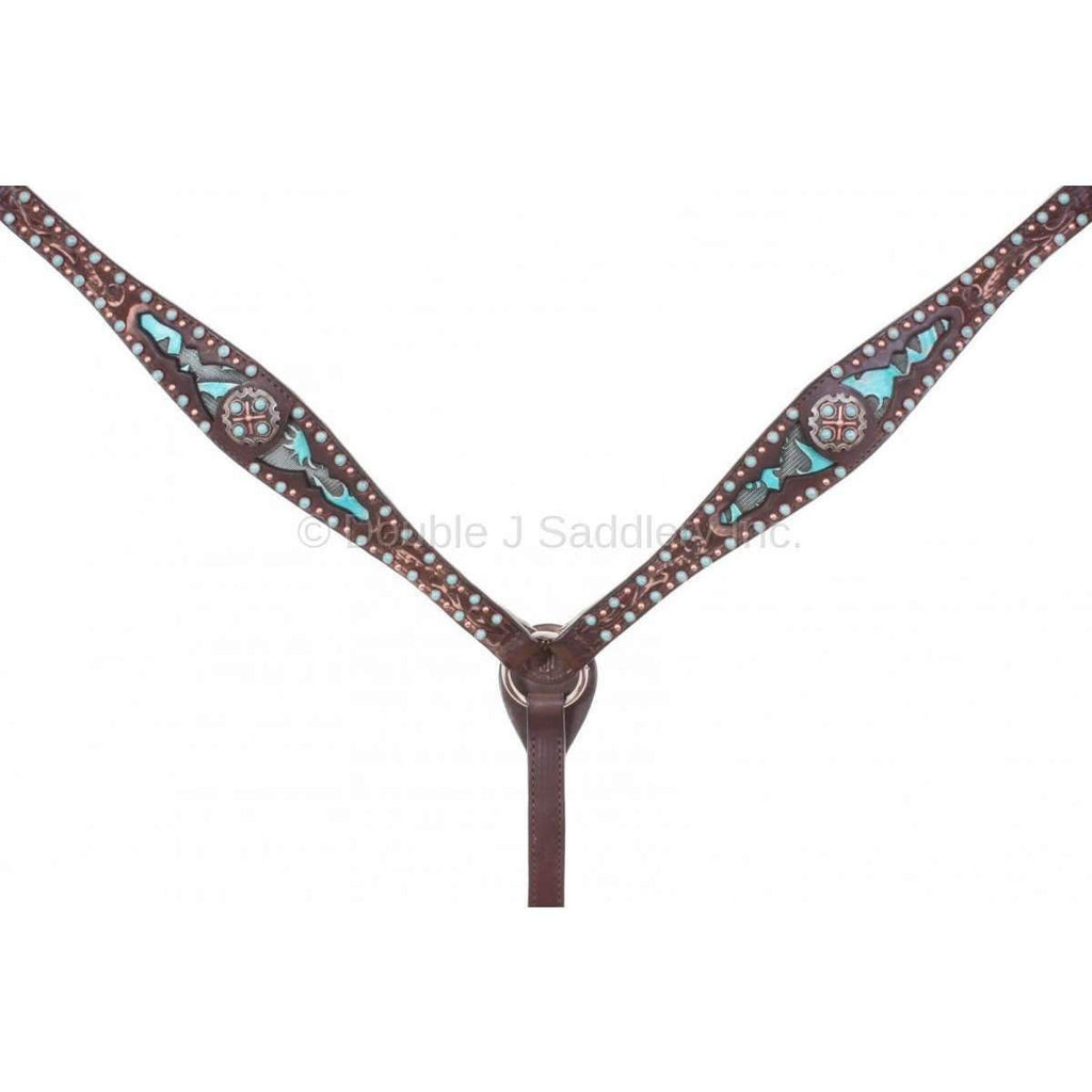 Bc748 - Brown Vintage Laredo Turquoise Inlayed Breast Collar Tack