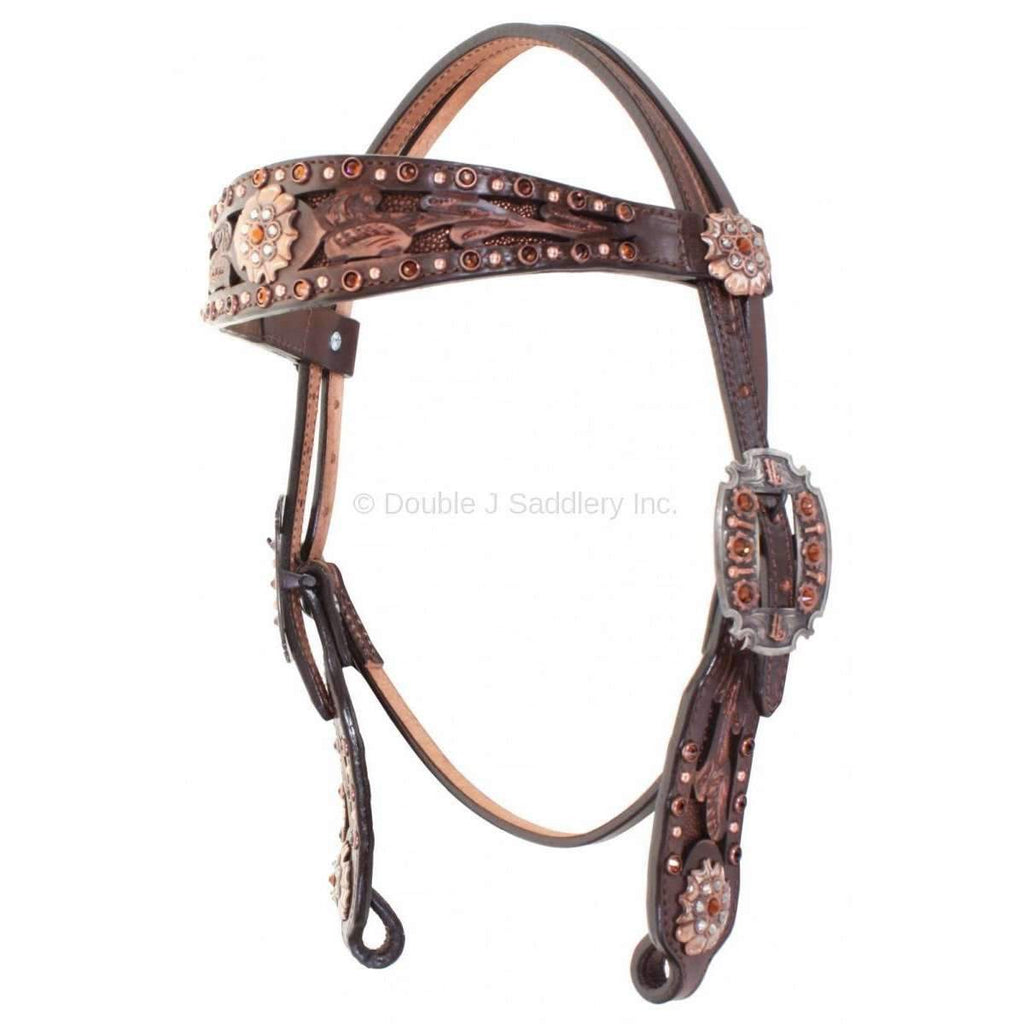 Brown Vintage Stingray and Crystal Headstall
