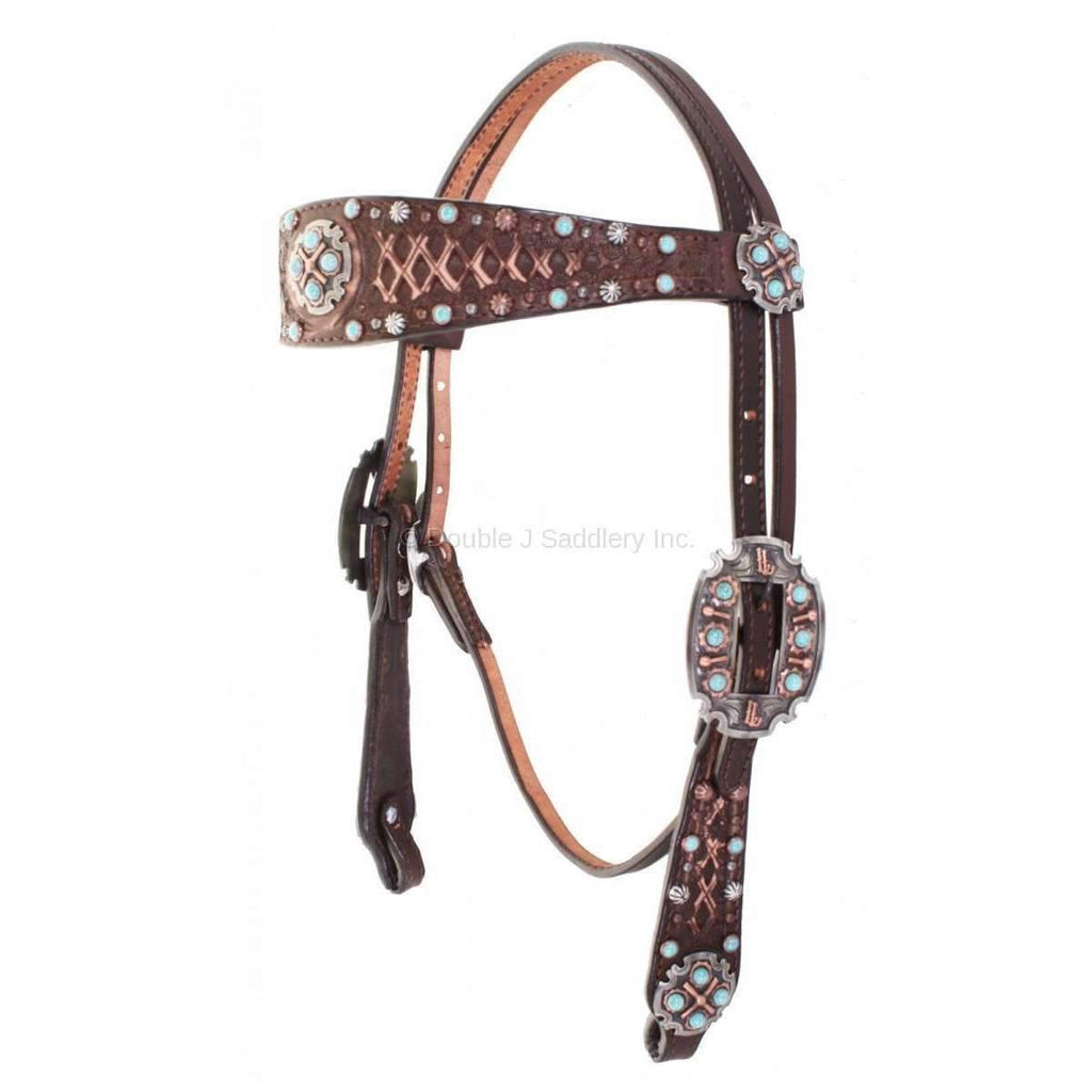 Brown Vintage Tooled and Studded Headstall