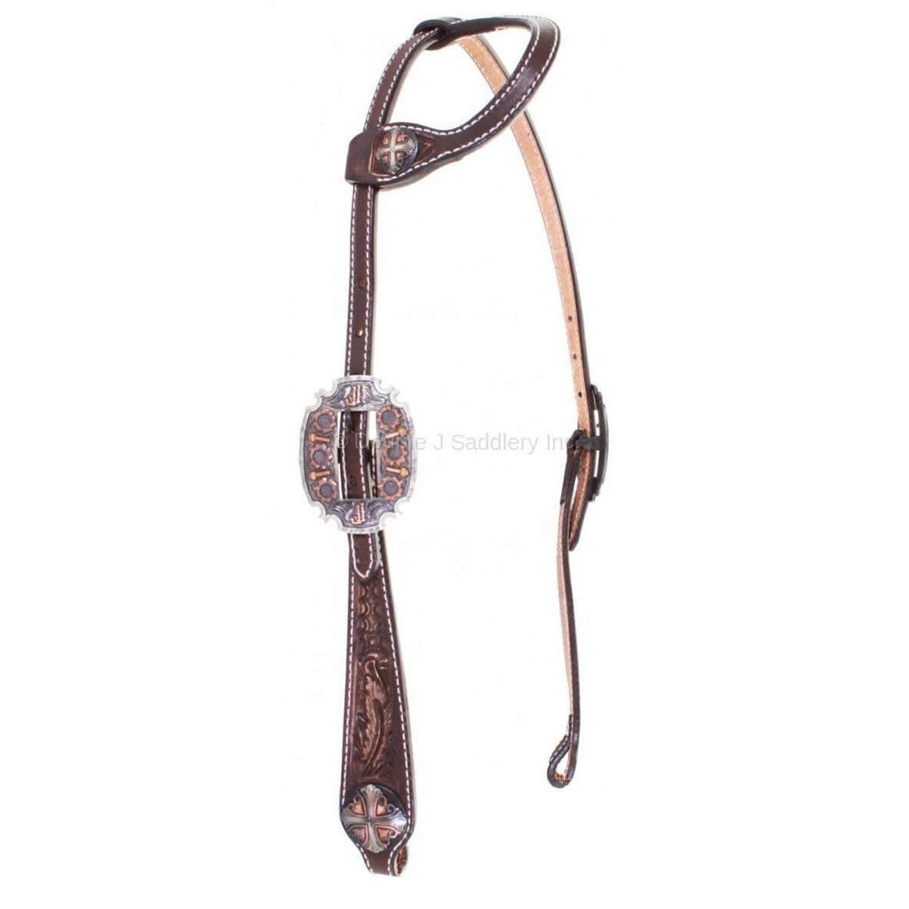 Brown Vintage Tooled Single Ear Headstall
