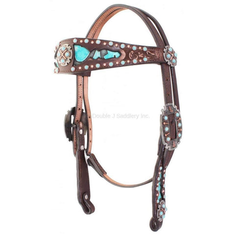 Brown Vintage Tooled and Turquoise Headstall