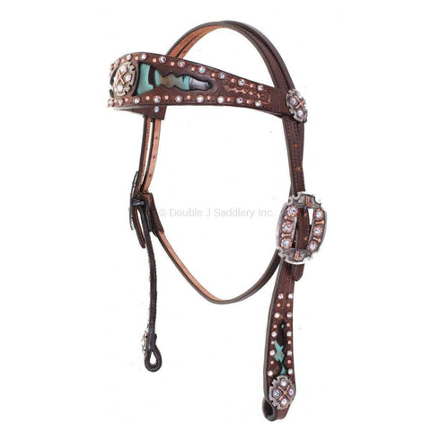 Brown Vintage Turquoise and Brown Plume Inlayed Headstall