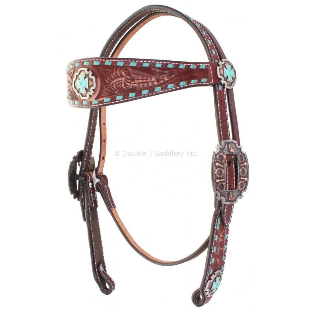 Cognac Vintage and Buck Stitched Headstall