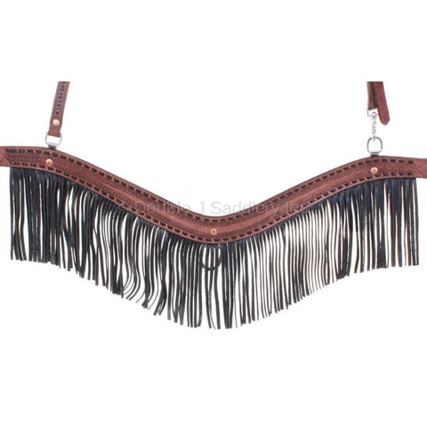 Brown Rough Out And Fringe Breast Collar