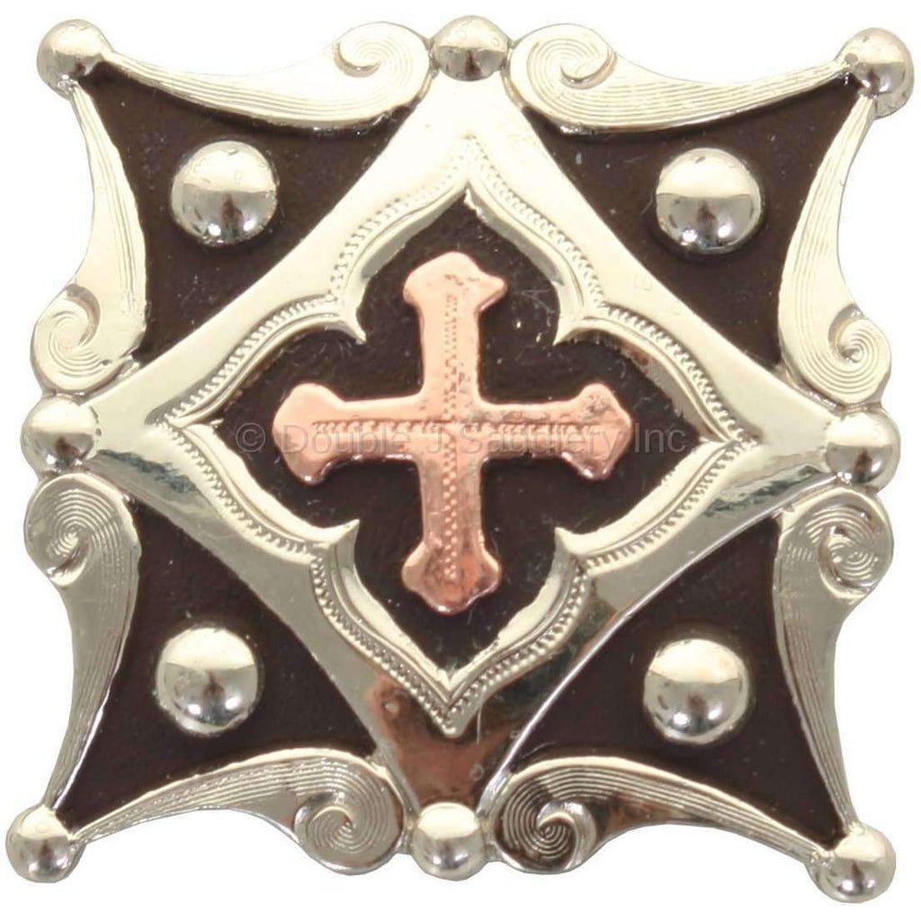 Antique Silver Diamond And Copper Cross Concho