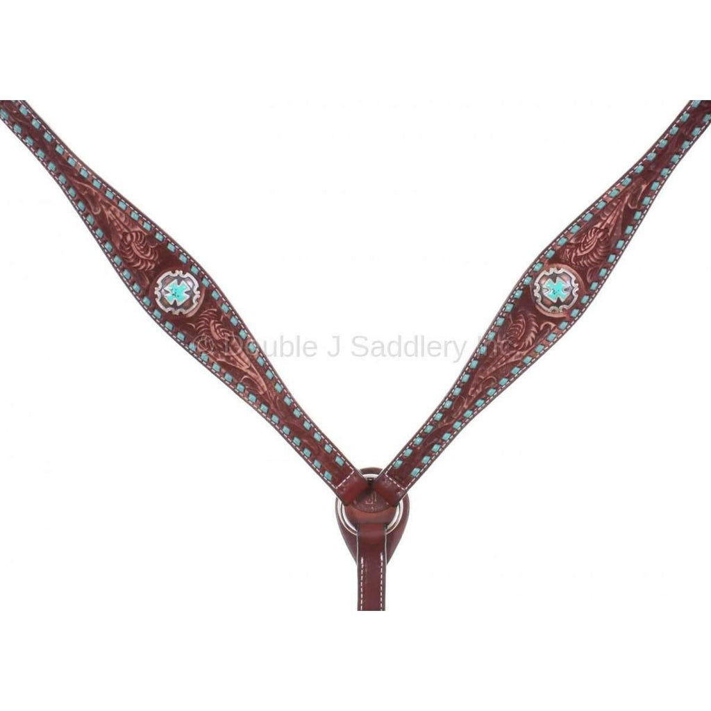 Cognac Vintage Tooled And Buck Stitched Breast Collar