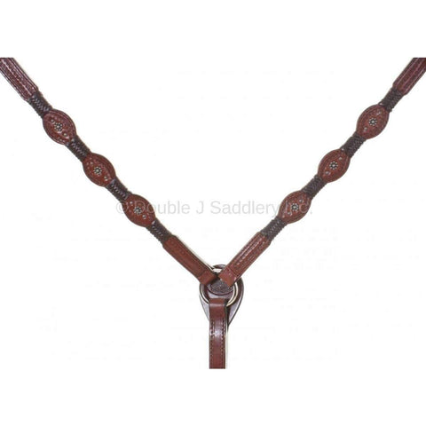 Brown Leather Breast Collar with Brown Braids
