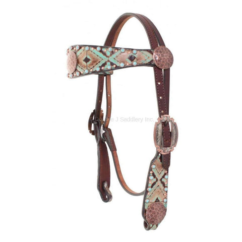 Navajo Turquoise and Brown Leather Overlay Headstall