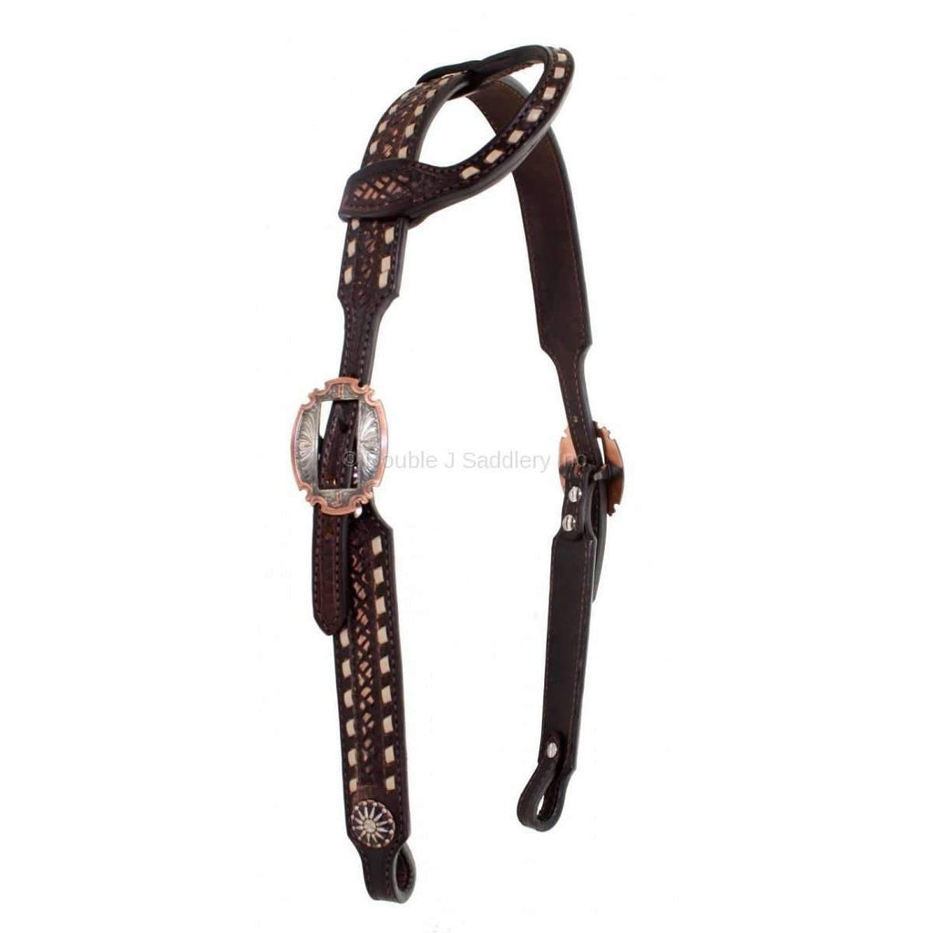 Brown Vintage Tooled and Buck Stitched Single Ear Headstall