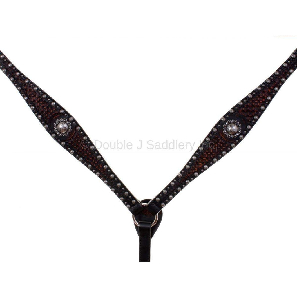 Bc785 - Black Vintage Tooled Breast Collar Tack