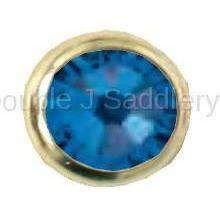 Capri Blue Swarovski Crystal In Small Brass Setting