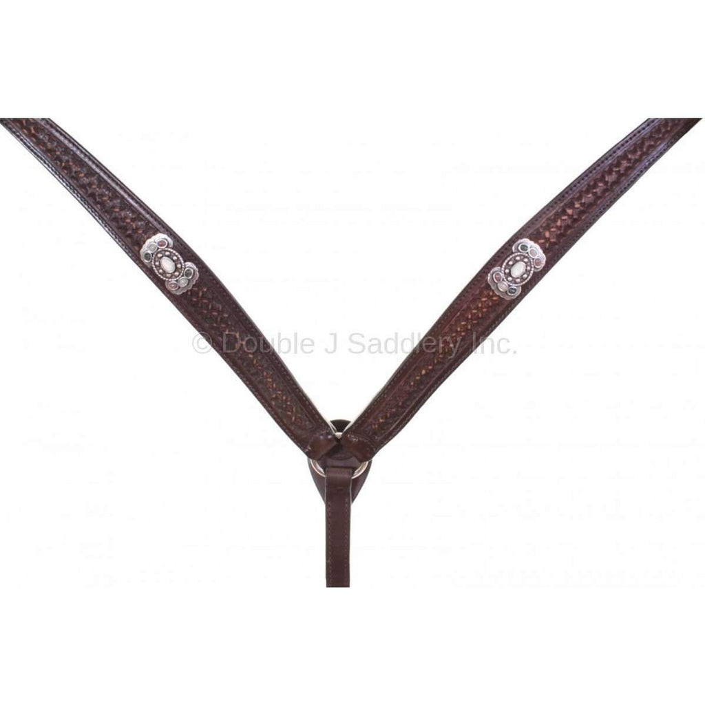 Brown Vintage Tooled Breast Collar