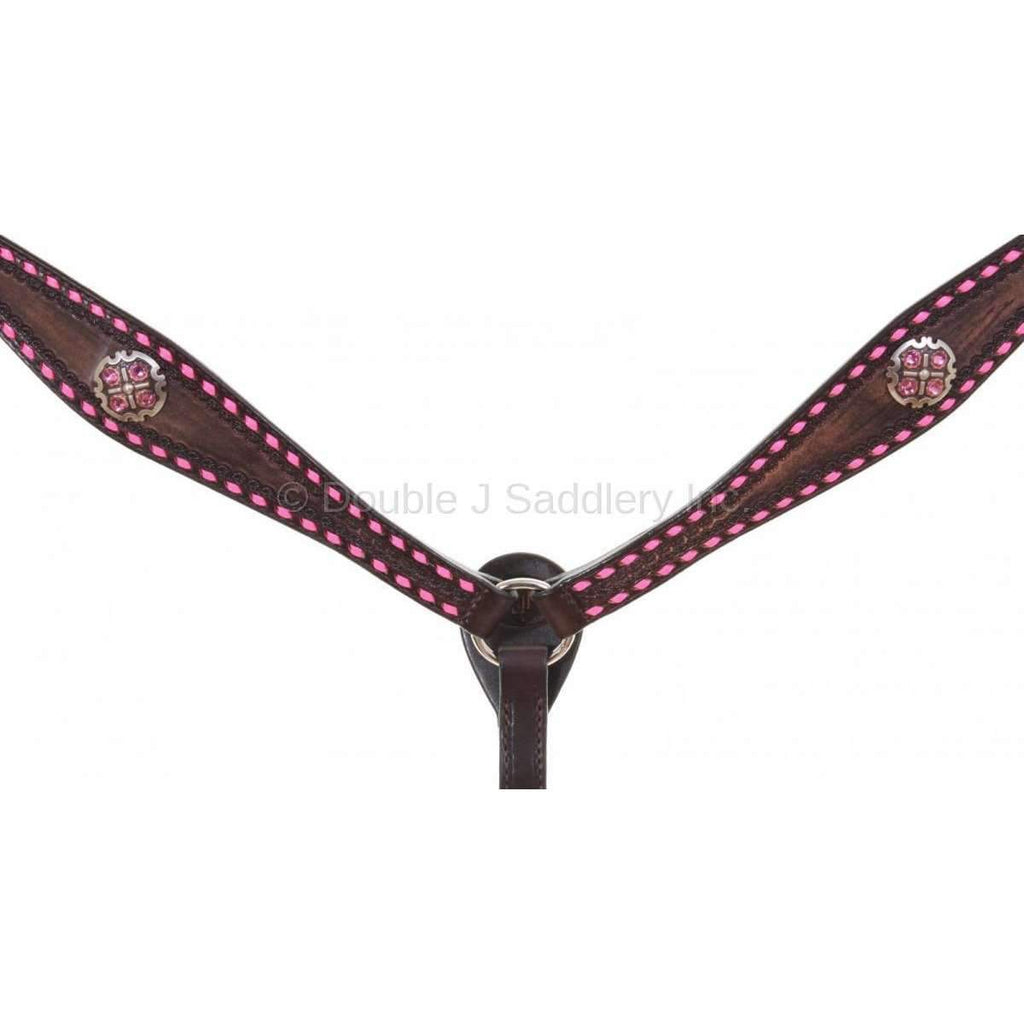Brown Vintage Buck Stitched Breast Collar
