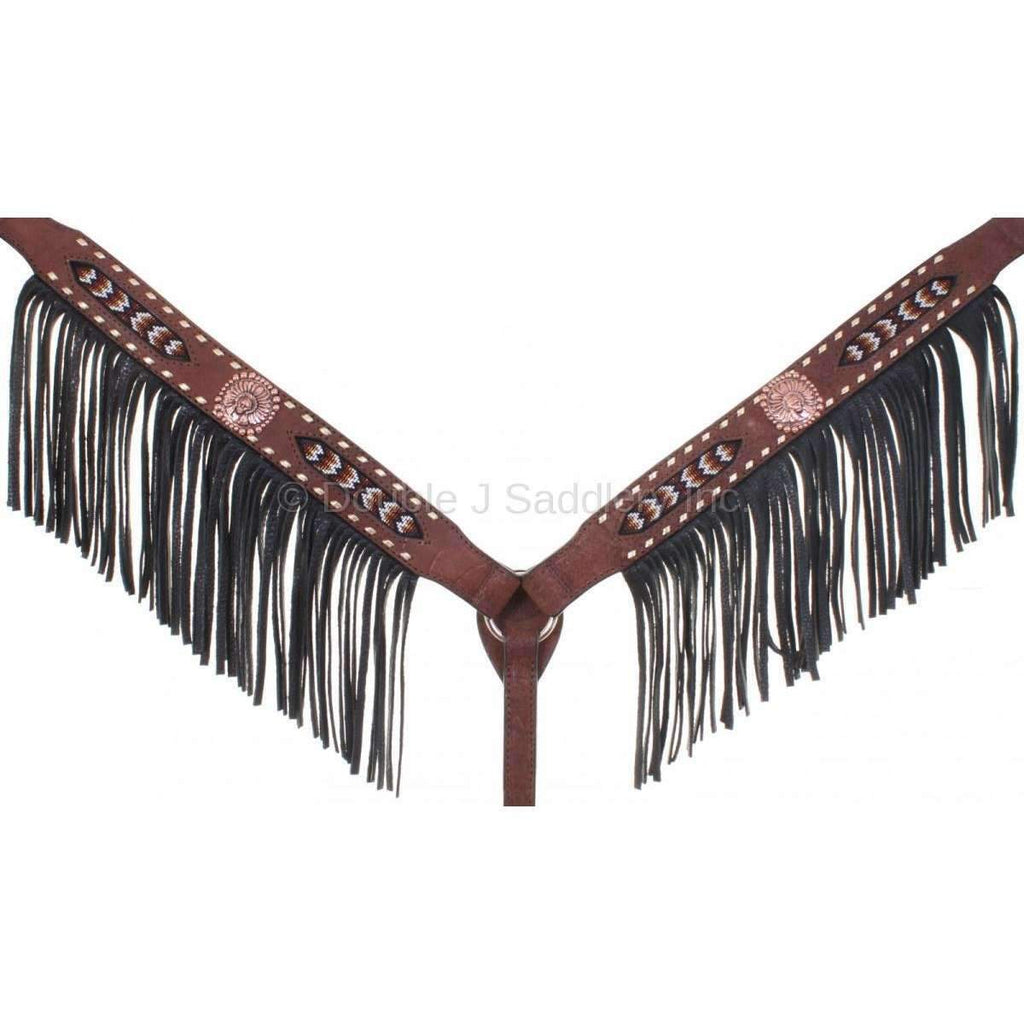 Brown Rough Out Beaded Breast Collar