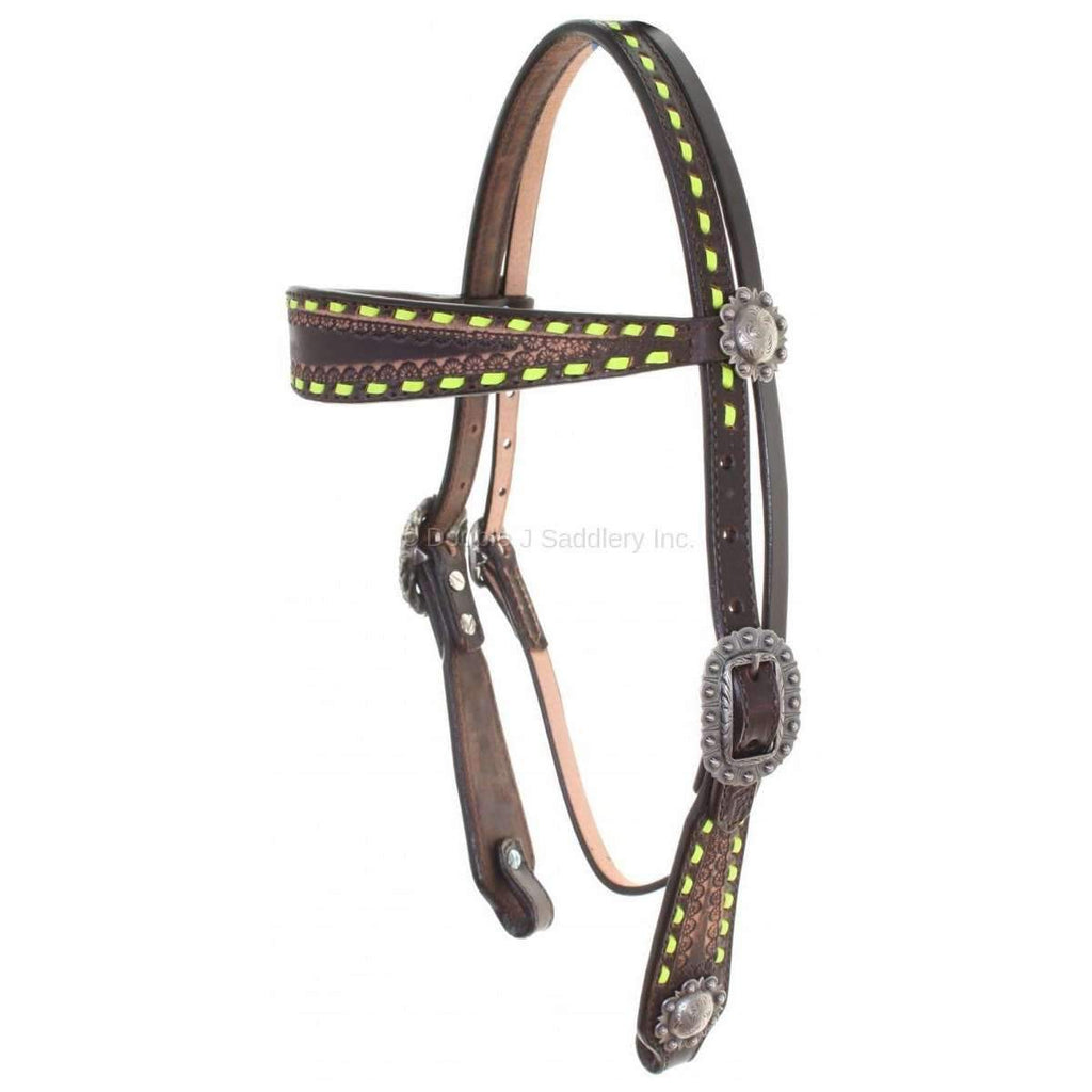Brown Vintage Buck Stitched Headstall