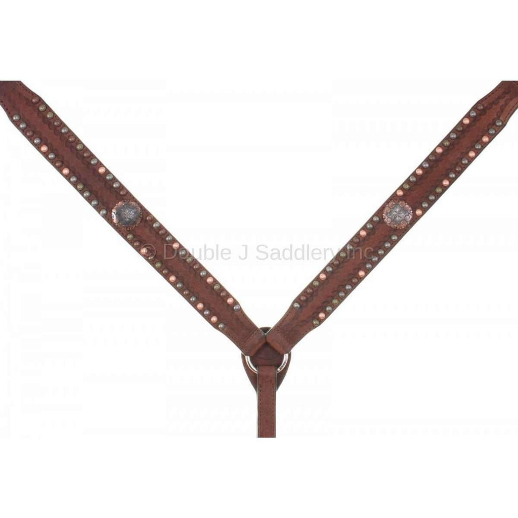 Brown Rough Out Studded Breast Collar