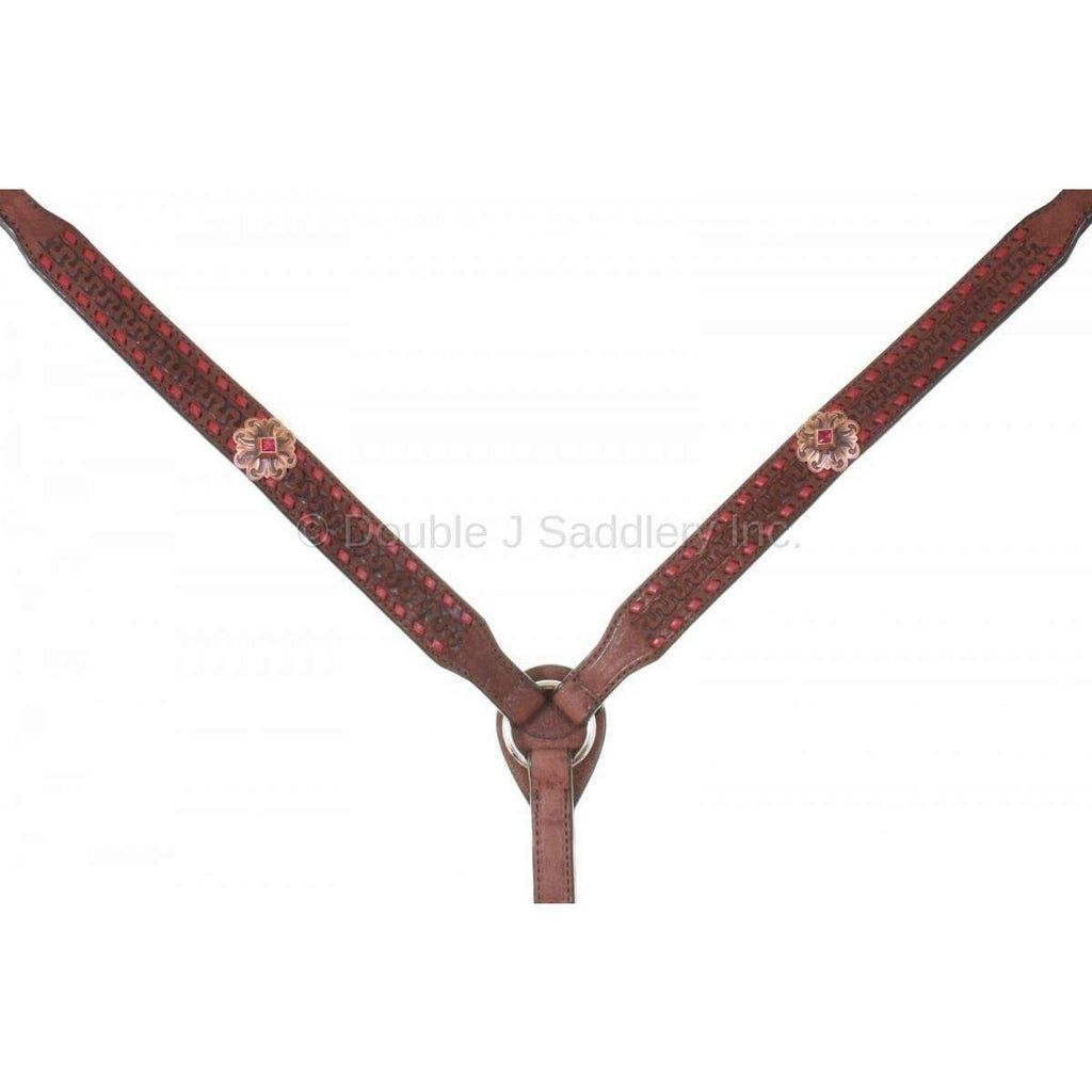 Brown Rough Out Buck Stitched Breast Collar