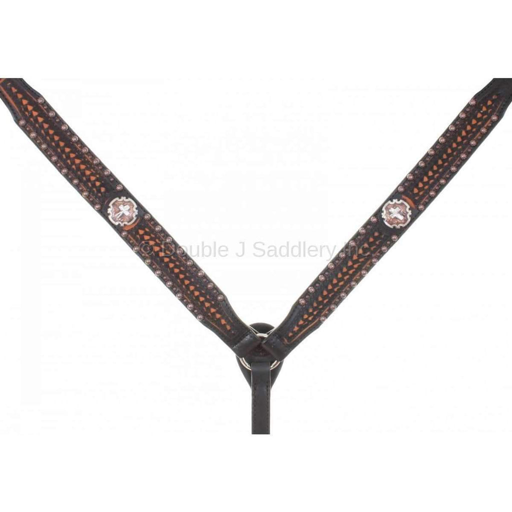 Black Vintage Tooled and Studded Breast Collar