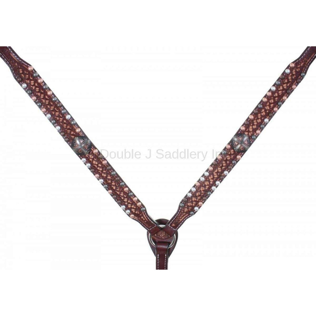 Cognac Vintage Tooled and Studded Breast Collar