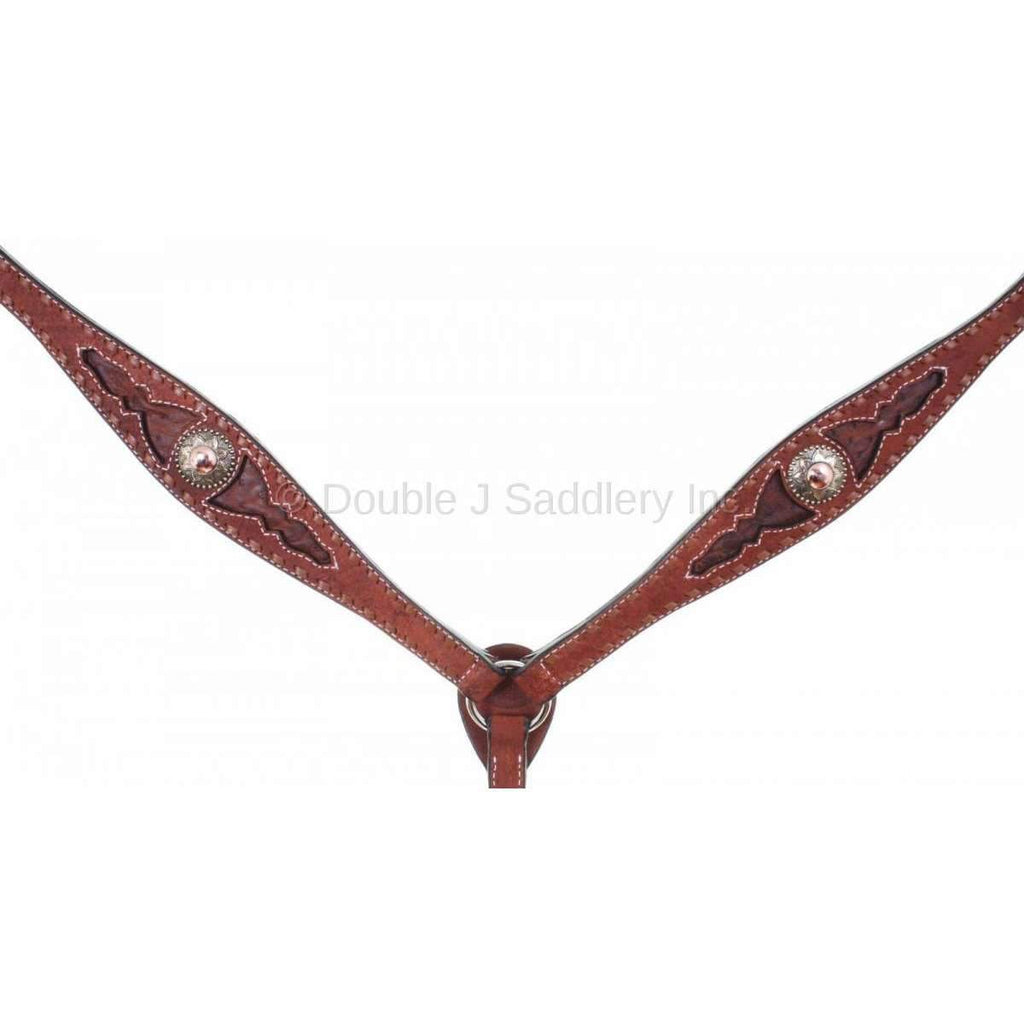Genuine Ostrich Inlay And Buck Stitched Chestnut Rough Out Breast Collar