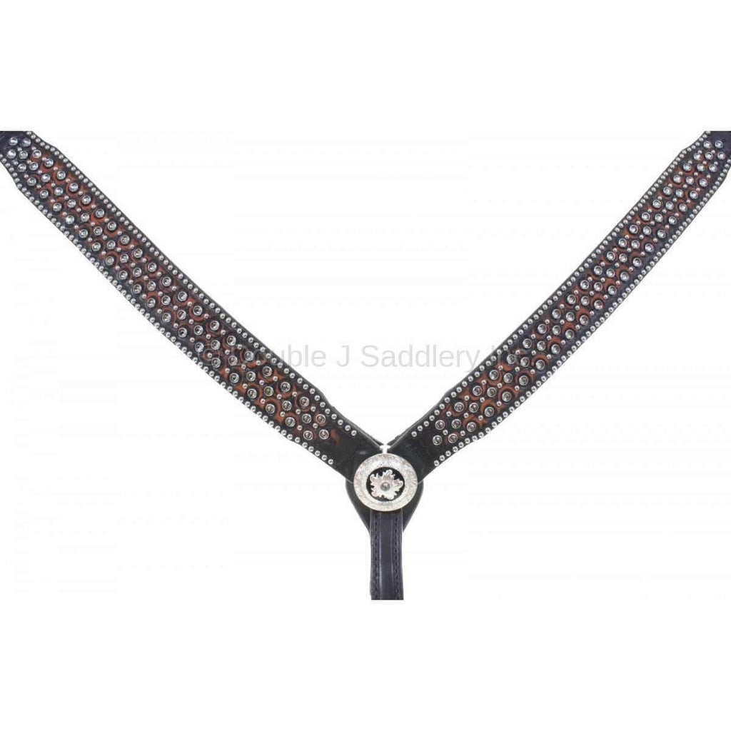 Black Vintage Crystal Studded Breast Collar