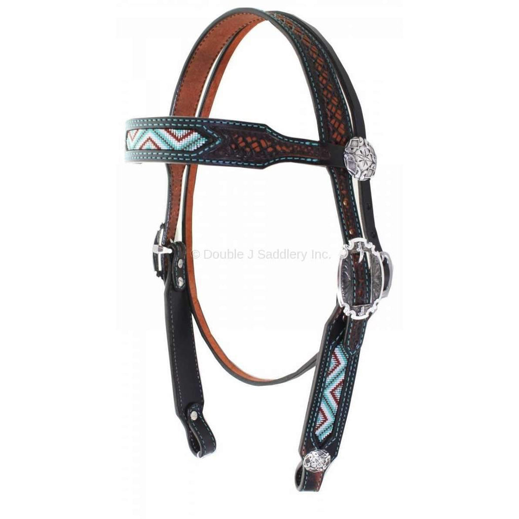 H870 - Black Vintage Beaded Headstall Tack