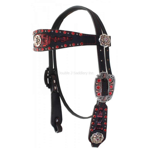 Black Harness Leather Black/Red Gator and Crystal Headstall