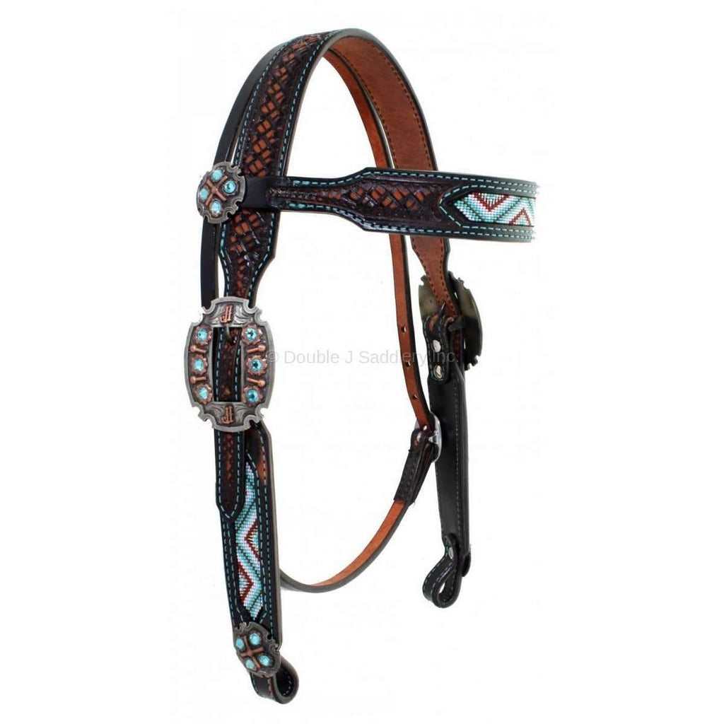 Black Vintage Tooled and Beaded Headstall