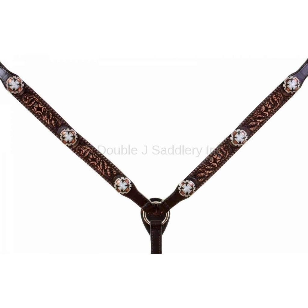 Brown Vintage Tooled Breast Collar With Conchos