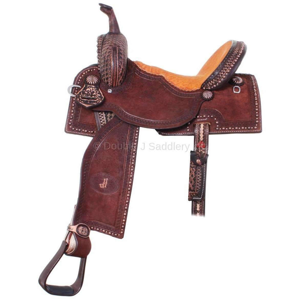 Brown Vintage Pozzi Pro Barrel Racer Saddle. MATCHING TACK H720 AND BC697 AVAILABLE