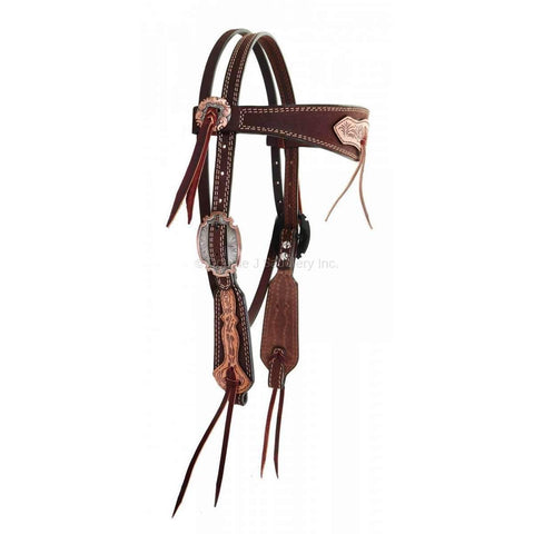 Brown Roughout Overlay and Tooled Headstall