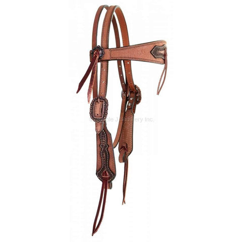 Natural Roughout Overlay and Tooled Headstall