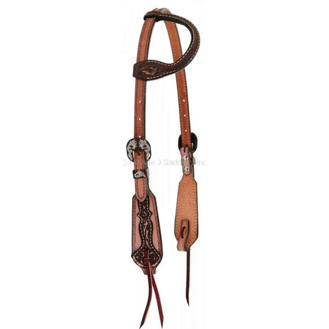 Natural Roughout Overlay and Tooled Single Ear Headstall