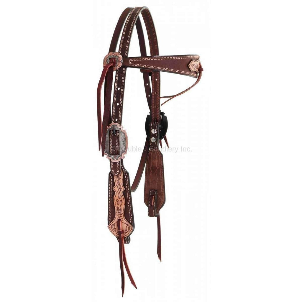 H941 - Brown Rough Out Tooled Overlay Headstall Tack