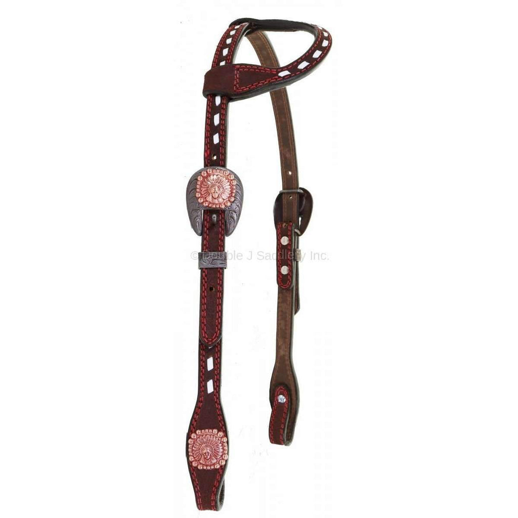 H932 - Brown Rough Out Buck Stitched Single Ear Headstall Tack
